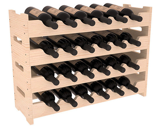 Wine Racks America - 24 Bottle Mini Scalloped Wine Rack in Pine, (Unstained) - Stack four 6 bottle racks with pressure-fit joints for proper storage of 24 wine bottles. This rack requires no hardware for assembly and is ready to use as soon as it arrives. Makes the perfect gift and stores wine on any flat surface.