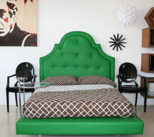 Hollywood Bed in Green eclectic beds