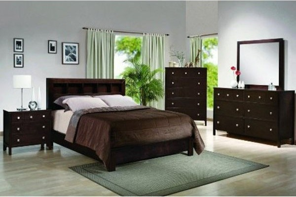 dark finish wood queen bedroom set 59b410 contemporary bedroom