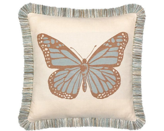 "Elaine Smith Luxury Outdoor Pillows - Elaine Smith Pillows Galapagos Butterfly Spa - 20"" x 20"" - Elaine Smith pillow collections is the world's first and only line of outdoor luxury pillows. They start with the best, solution dyed yarns and work with the finest U.S. mills to create beautiful, long lasting quality products. These pillows can withstand nature and human nature, resisting sun, rain, and stains."