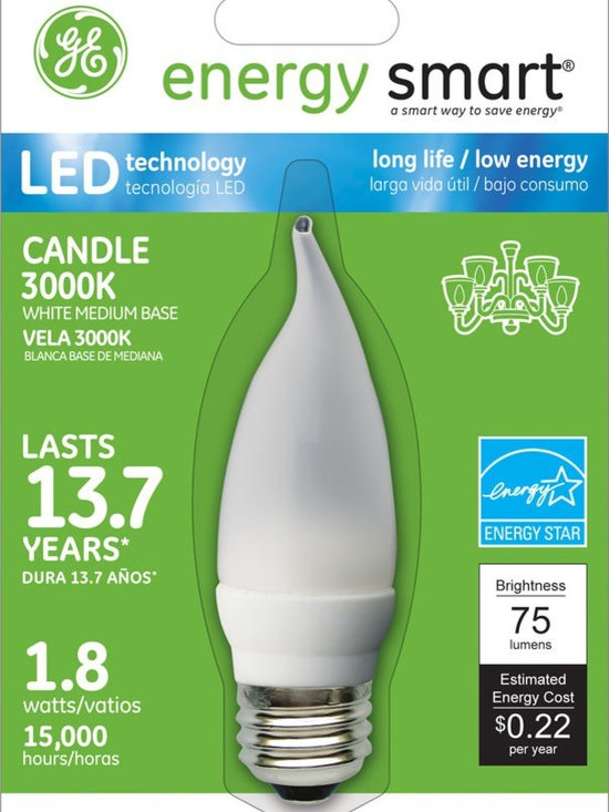 GE Energy Smart 10W Replacement (1.8W) Candle CA11 LED Bulb (Warm, Frosted, E26) - GE Energy Smart 10W Replacement (1.8W) Candle CA11 LED Bulb (Warm, Frosted, E26) | http://www.agreensupply.com/ge-energy-smart-10w-replacement-1-8w-candle-ca11-led-bulb-warm-frosted-e26/