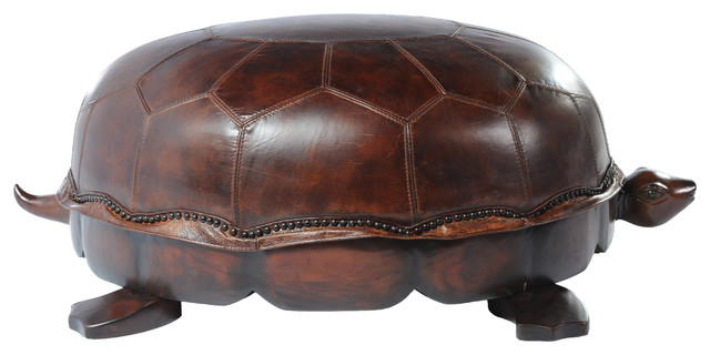 Vintage Style Leather Turtle Ottoman Traditional