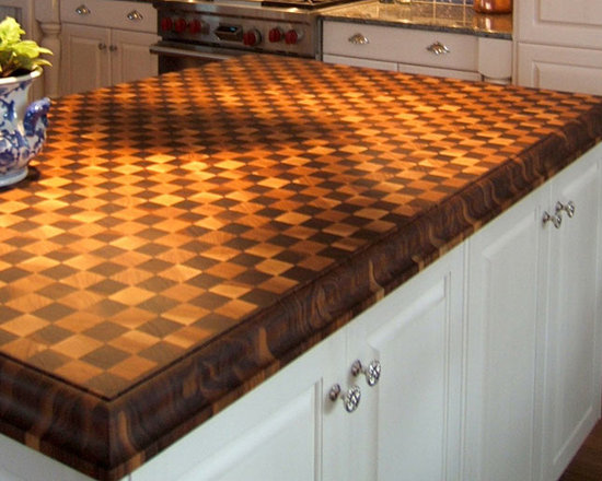 Cherry and Walnut Butcherblock Island Countertop by Grothouse - 3 inch American Cherry and Walnut Checkerboad Butcherblock Island Countertop with Walnut Border in brown and red colors with Medium Roman Ogee edge profile and a Food Grade Oil finish. Special features include the Checkerboard and Border treatments. Designed by Mary S. Mitchell of MES Mitchell Interiors, LLC. Photography courtesy of Grothouse Lumber Co.