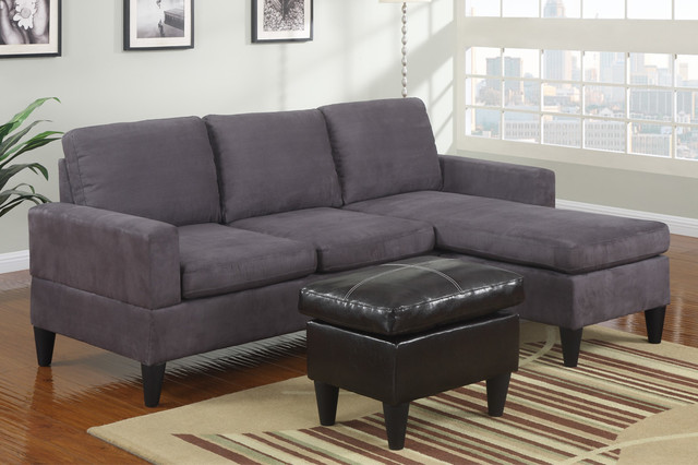 Modern small gray microfiber sectional sofa reversible for Black microfiber sectional sofa with chaise
