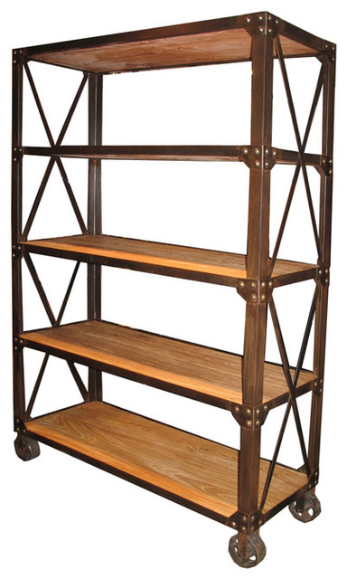 Old Elm Shelf with Wheels modern bookcases