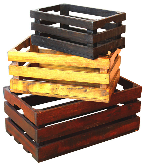 Decorative Old Colored Wooden Crates Set of 3 rustic-home-decor