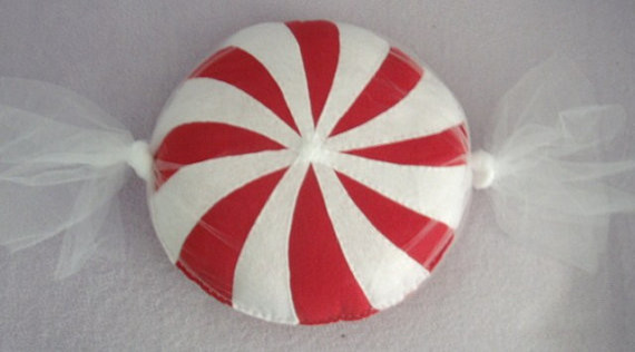 Candy-shaped Round Throw Pillow, Red and White Swirl by Pillows by Tara - Eclectic - Decorative ...