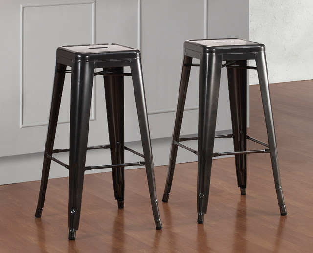 Tabouret 30 Inch Charcoal Grey Metal Bar Stools Set Of 2 Contemporary B