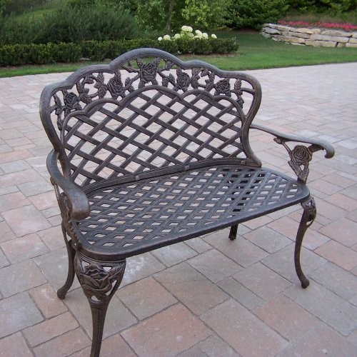 Oakland Living Tea Rose Cast Aluminum Curved Loveseat Bench Traditional Patio Furniture And