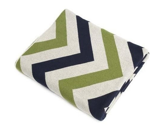 Belle & June - Navy/Green/Ivory Chevron Cotton Blanket - Make a bold statement while keeping cozy with a brightly colored chevron blanket. The comfort of cotton can't be beat as you snuggle down for a warm night in. Pull up a good book, or fire of the Netflix queue, it's gonna be a good night.