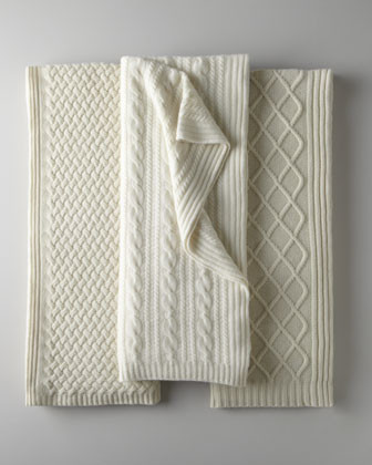 Sofia Cashmere Ivory Cashmere Knit Throws traditional-throws