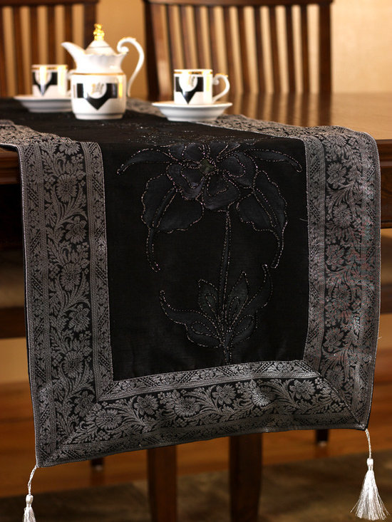 """Elegant Table Runners - Gorgeous """"Hand Painted"""" table runner. Mystic Black color. Decorative Indian design."""