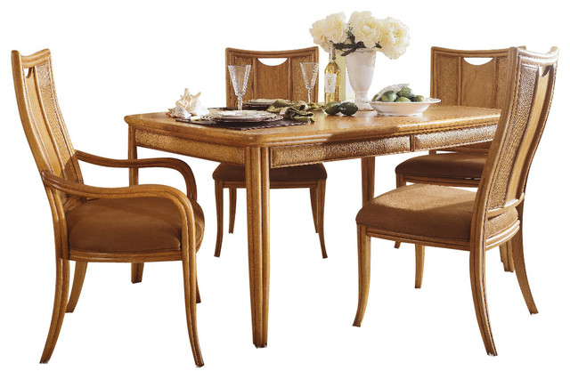 American Drew Antigua 6 Piece Leg Table Dining Room Set In Toasted Almond T