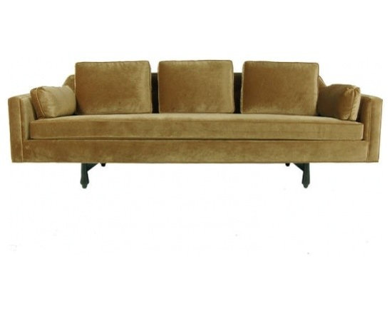 ecofirstart - Sofa No. 496 inspired by Edward Wormley - Three seat sofa with down filled back cushions and bench style seat on solid black stained mahogany legs. Buttoned back, optional side pillows.A leading American furniture designer for over four decades, Edward J Wormley possessed a personal flair for embracing modern trends without a total departure from historical influences. His ability to combine the finest materials with outstanding craftsmanship became the cornerstone of his design statement. Wormley��_��s significant, personal contribution to modern design has earned him a position along side his noted contemporaries: Harry Bertoia, Charles Eames, George Nelson, Jens Risom, and Eero Sarrinen.
