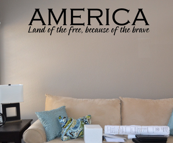 Land of the free Vinyl Wall Decal hd003, Brown, 18 in. contemporary-wall-decals