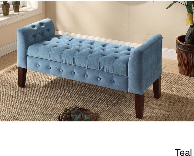 Velvet Tufted Settee Storage Bench Contemporary Indoor Benches By