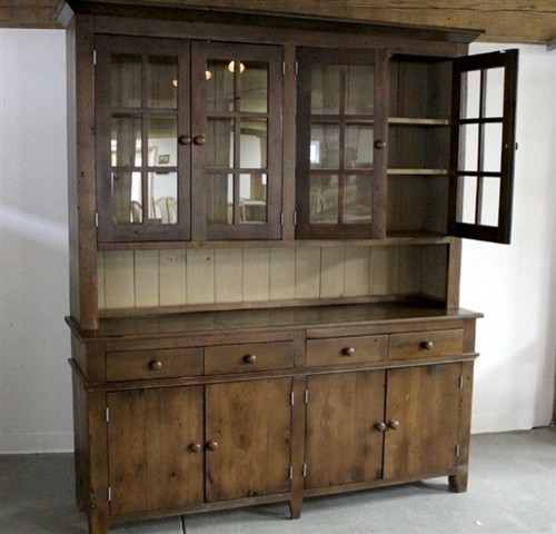 Rustic 4 Door Old Pine Hutch White Interior Rustic