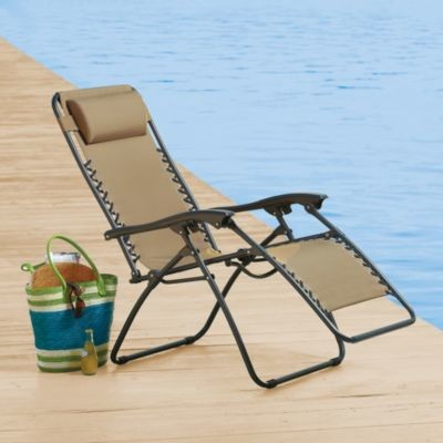 Relaxer Chair In Tan Contemporary Outdoor Chaise