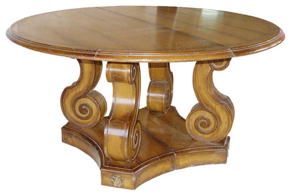 Baroque Style Round Wood Table with Antiqued Gold Finish -dining    Baroque Round Table