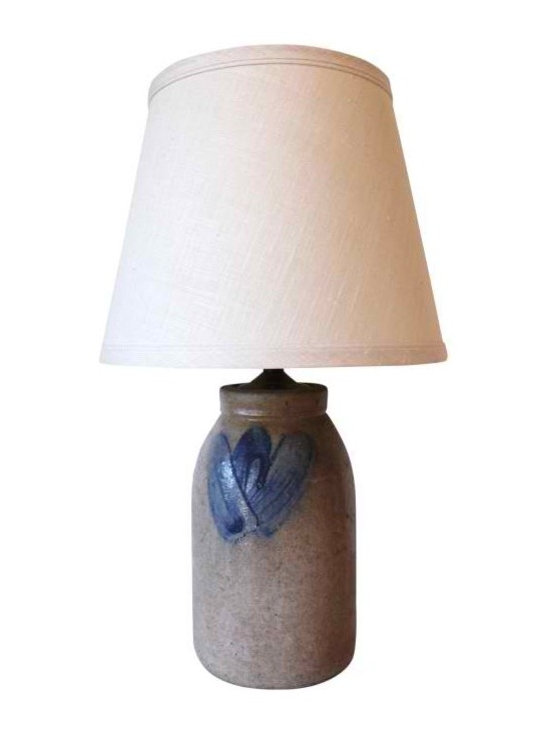 Stonewear Lamp with Cream Linen Shade -