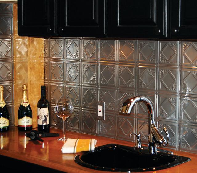 tin backsplash brushed nickel tin tiles contemporary tile