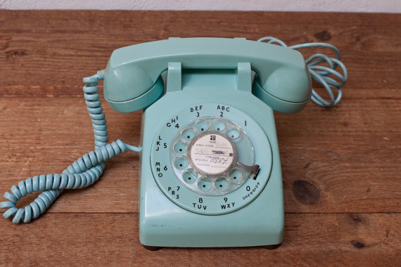 Mint Green 1960s Rotary Telephone Phone by Whisky Ginger contemporary home electronics