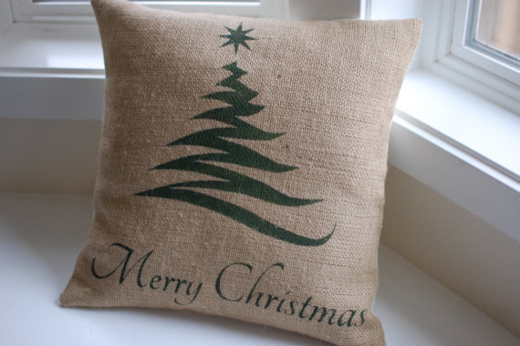 Burlap Pillow Cover with Christmas Tree by LaRae Boutique modern-decorative-pillows