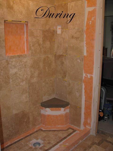 Travertine Master Bath modern