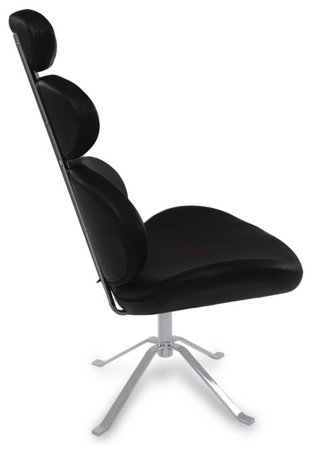 Pebble modern swivel occasional chair black contemporary for Modern swivel accent chair