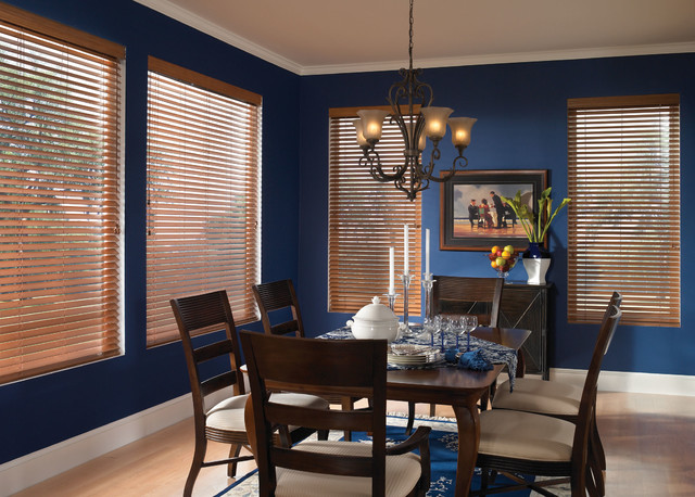 Wood Blinds Traditional Dining Room Blue Brown Chandelier Traditional Vertical Blinds