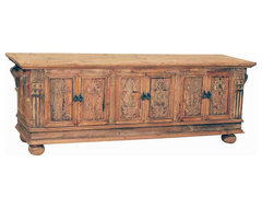 Indonesian Sideboard with Hand Carved Door panels eclectic buffets and sideboards