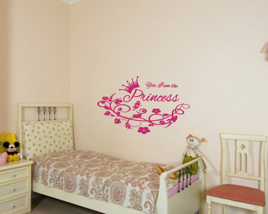 Vinyl Decals Princess Crown Flower Quote Home Wall Decor Removable Sticker Mural -