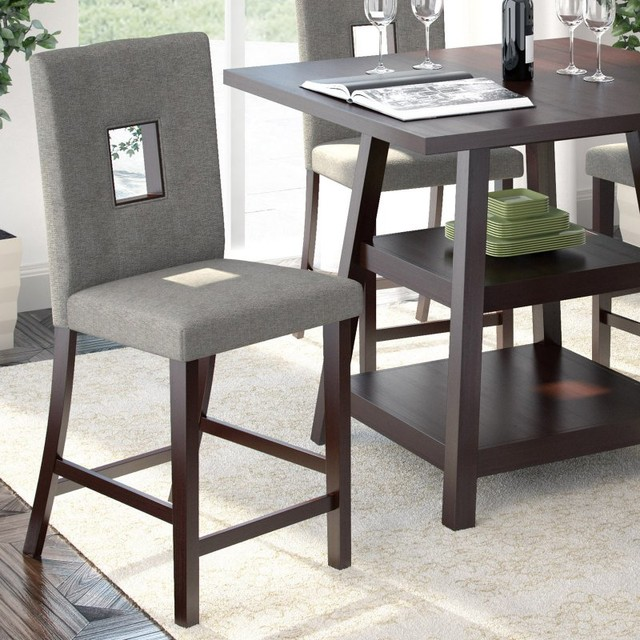 CorLiving Bistro Counter Height Dining Chairs Gray Sand Set Of 2 DIP 42