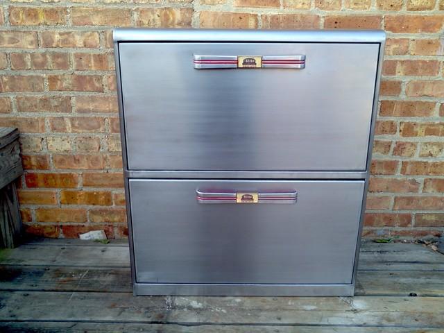 Restored 1950's metal vertical filing cabinet