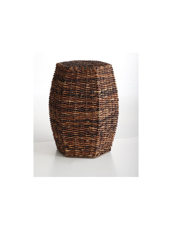 """Horchow - Madras Garden Seat - Exclusively ours. A fresh take on the classic garden stool, this beauty brings rustic charm to the room with its hexagonal shape and eco-friendly fibers. Made of handwoven abaca over metal frame. 14.25""""W x 15.75""""D x 20.25""""T. Imported."""