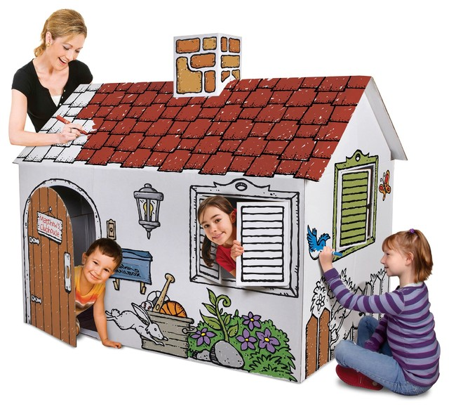 Discovery Kids Cardboard Color and Play Playhouse contemporary-kids-toys-and-games