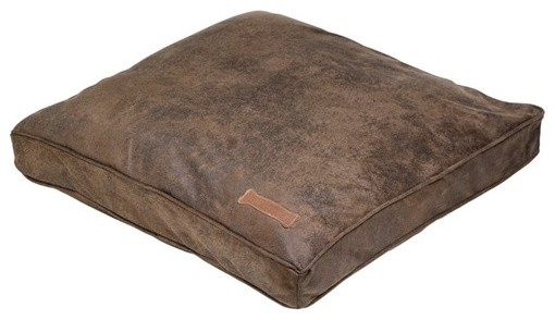 Faux Leather Pillow Dog Bed in Cognac - Modern - Dog Beds