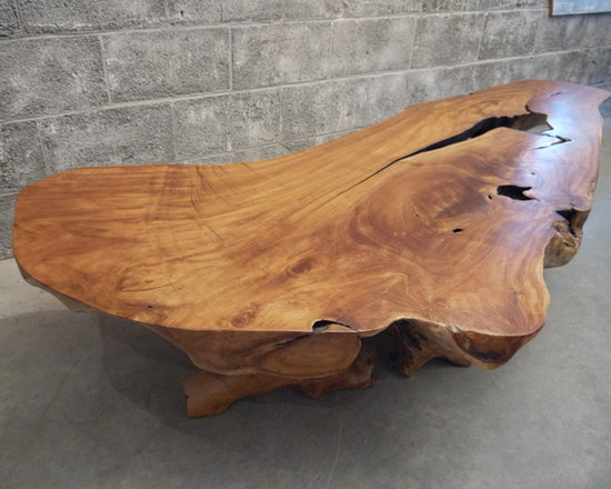 Teak wood live edge coffee table - Charles St-Louis