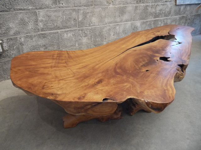 Teak Wood Live Edge Coffee Table Traditional