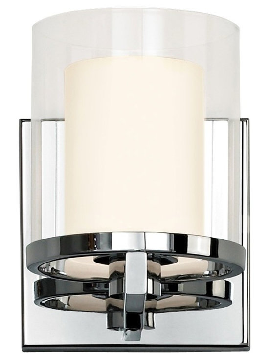 "Sonneman - Sonneman Votivo 5 1/2"" High Polished Nickel Sconce - Contemporary and chic this fresh wall sconce adds instant style. Clear outer glass surrounds inner white etched glass while a polished nickel finish adds bright eye-catching gleam. From the Votivo Collection by Robert Sonneman. Polished nickel finish. Outer clear glass. Inner white etched glass. Includes one 50 watt Xenon G9 bulb. UL listed for damp locations. 5 1/2"" high. 4 1/2"" wide. Extends 5 1/2"" from the wall.   Polished nickel finish.  Outer clear glass.  Inner white etched glass.  Includes one 50 watt Xenon G9 bulb.  UL listed for damp locations.  5 1/2"" high.  4 1/2"" wide.  Extends 5 1/2"" from the wall."