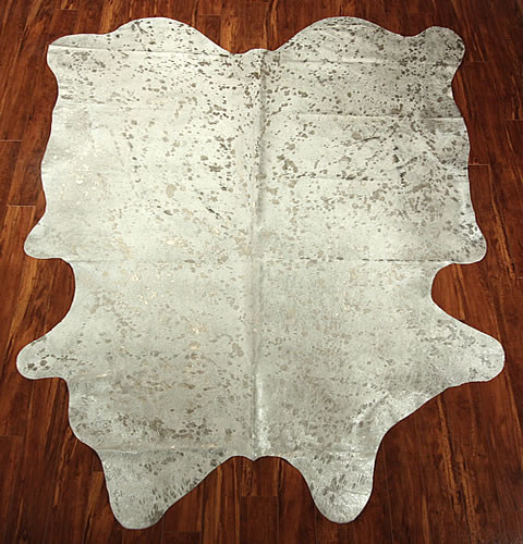 White & Silver Metallic Cow Hide eclectic-rugs