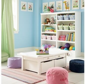 Kids White Adjustable Activity Table | Land of Nod eclectic-kids-tables-and-chairs