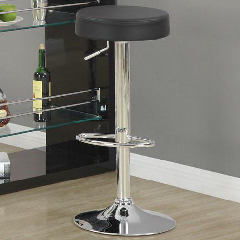 Black Chrome Metal Hydraulic Lift Barstool 2pcs