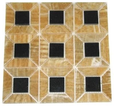 Honey Polished 3d Pattern Mesh Mounted Onyx Tile Black