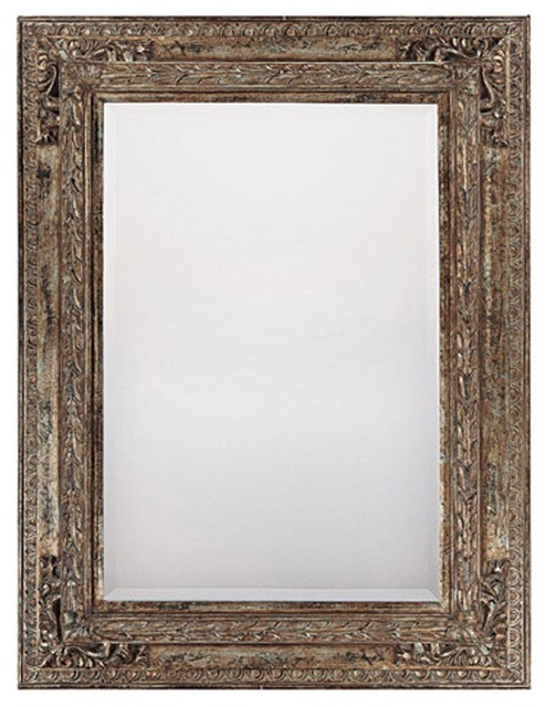 Mirror Beveled Old World Finish Gold W Silver Highlights