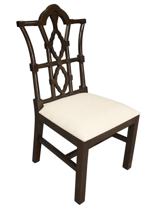 """Noir - Noir Emperor Distressed Brown Side Chair - Featuring natural, simple and classic designs, Noir products supply a timeless complement to a variety of interiors. The majestic carved lines of the Emperor side chair create a commanding presence in dining rooms. The furnishing's distressed brown finish is hand-applied to the birch frame for a weathered finish, while the padded seat provides a soft juxtaposition in light linen fabric.  23""""W x 24""""D x 42.5""""H."""