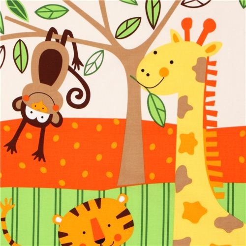Kids growth chart jungle animal fabric timeless treasures for Animal print fabric for kids