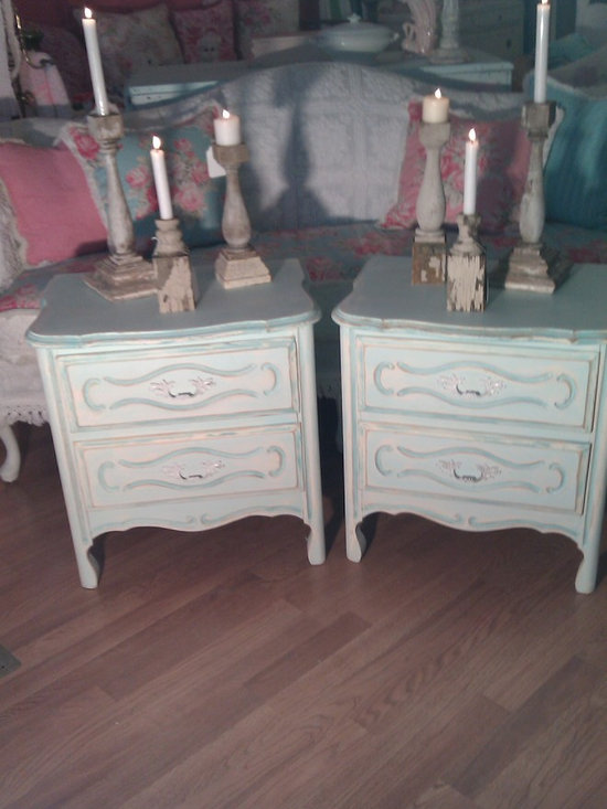 beach cottage aqua nightstands painted distressed - vintage french provincial nightstands in aqua blues painted distressed. matching dresser also pictured. These are sold but can be recreated for you, contact me for more info :-)