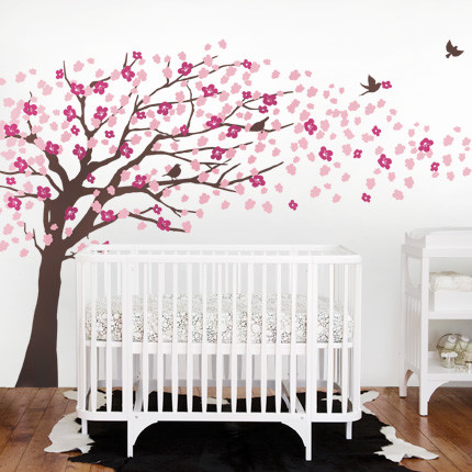 Cherry blossom tree elegant style wall decal modern for Cherry blossom tree wall mural