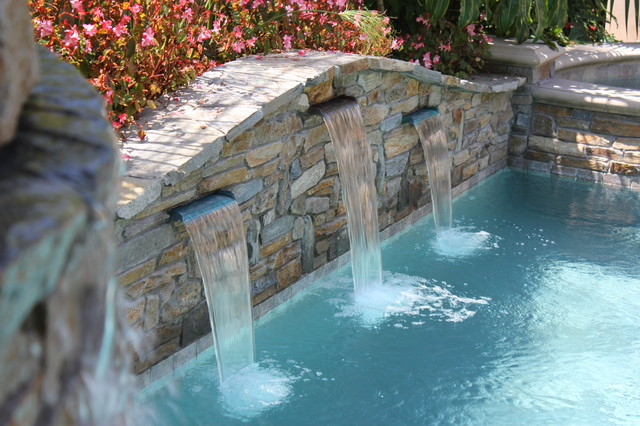 Pool And Spa Stacked Stone Wall Water Features Pool